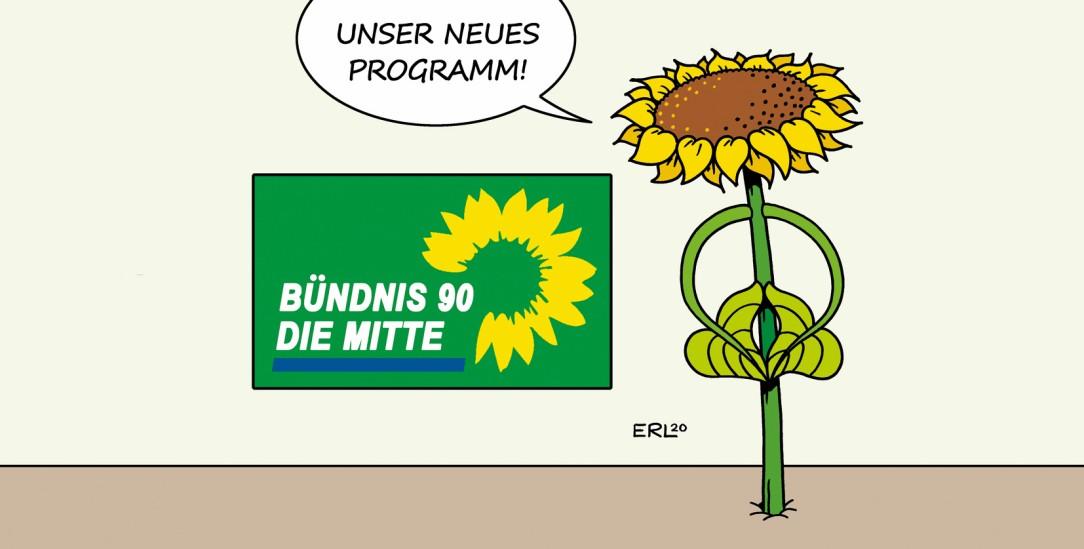 Die neuen Grünen: In die Mitte und an die Macht. (Zeichnung: PA/Die Kleinert/Martin Erl)