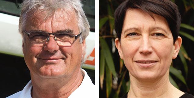 Soll man Deutschlands Bauern für ihre hitzebedingten Ernteausfälle entschädigen? »Ja!«, sagt Bauernverbandschef Detlef Kurreck (links). »Nein!«, meint Agraringenieurin Silvia Bender (rechts). (Fotos: BVMV/Ann-Katrin Hanell; BUND)