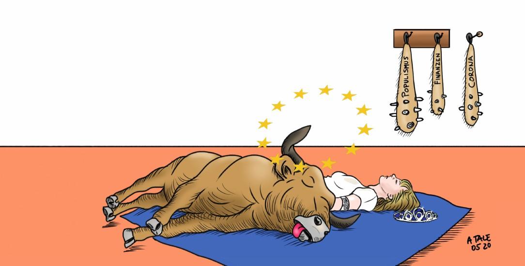 Erschlagen von zu vielen Krisen: Wird Europa wieder auf die Beine kommen? (Illustration: pa/Agostino Natale)