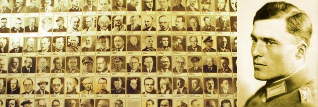 Bildwand in der Gedenkstätte Deutscher Widerstand im Bendlerblock: Die Porträts von 176 Mitverschwörern des Hitler-Gegners Oberst Claus Graf Schenk von Stauffenberg (rechts) zeigen, dass der Kreis groß war. (Fotos: pa/Brexendorff Michael; pa/akg)