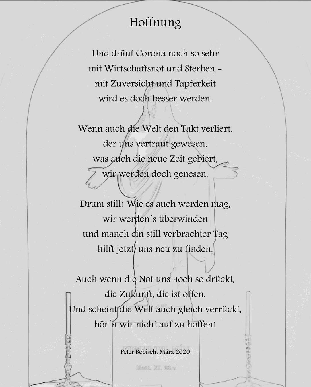 Gedicht: Peter Bobisch; Hintergrundabbildung: Jesus-Figur in einer Kirche in Rejkjavik (Foto: Bobisch)
