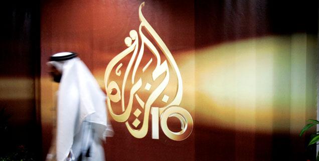 Das Logo des Fernsehsenders Al Jazeera: Saudi-Arabien und andere Staaten fordern von Katar, den Sender zu schließen (Foto: pa/ap/Kamran Jebreil)