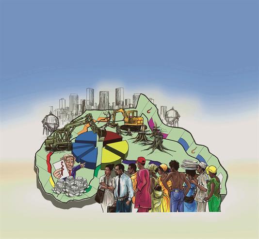 Investoren in Afrika: Wer kauft welche Straße, Plantage, Stadt? Und wem nützt das? (Zeichnung: Johannes Ossey (CC BY-SA 2.0)